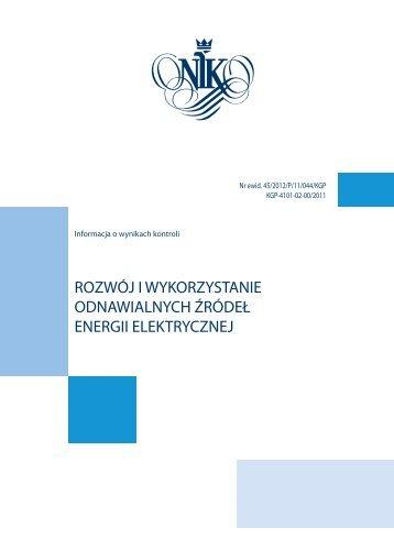 rozwój i wykorzystanie odnawialnych źródeł energii elektrycznej