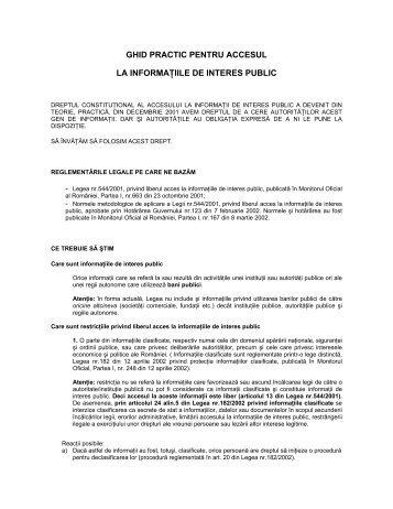 Ghid informatii de interes public - ITM-Suceava