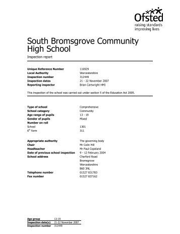 Full Ofsted report 2007 - South Bromsgrove High School ...