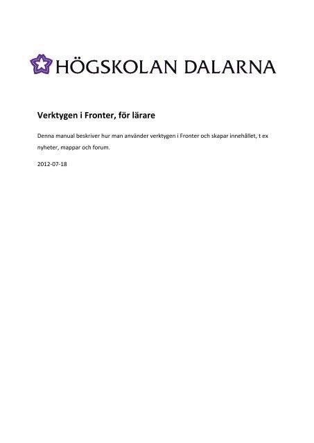 Verktygen i Fronter, för lärare - IKT-pedagogiskt centrum ...