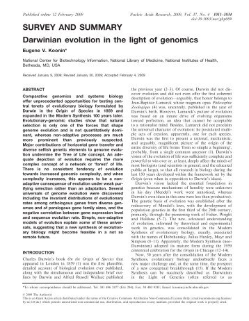 Darwinian evolution in the light of genomics - Nucleic Acids Research