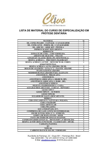 lista de material do curso de especialização em prótese dentária