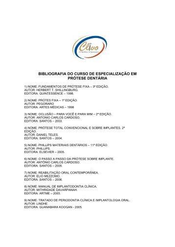 BIBLIOGRAFIA DO CURSO DE ESPECIALIZAÇÃO EM PRÓTESE ...