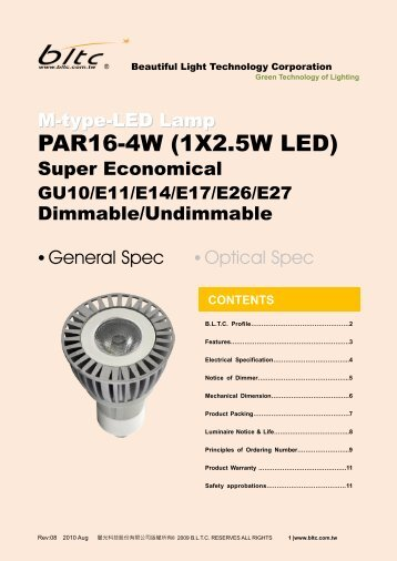 PAR16-4W (1X2.5W LED) - Beautiful Light Technology Corp
