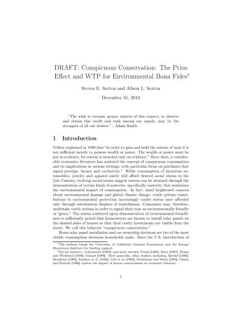 Draft Conuous Conservation The Prius Effect And Wtp For