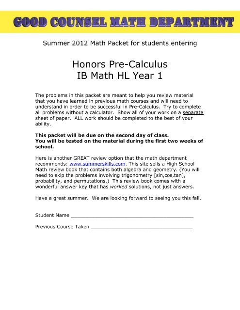 Honors Pre-Calculus IB Math HL Year 1