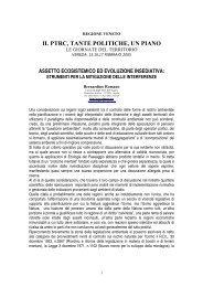 Il PTRC - Tante politiche, un piano - Giornate del territorio - Planeco