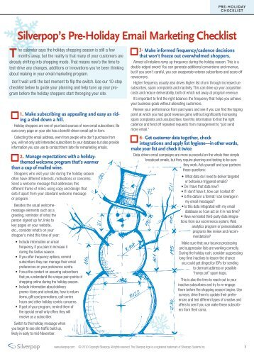 Silverpop's Pre-Holiday Email Marketing Checklist