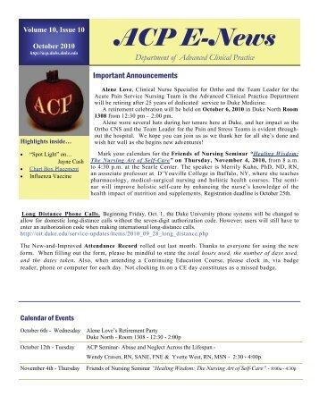 October 2010 Issue - Advanced Clinical Practice - Duke University