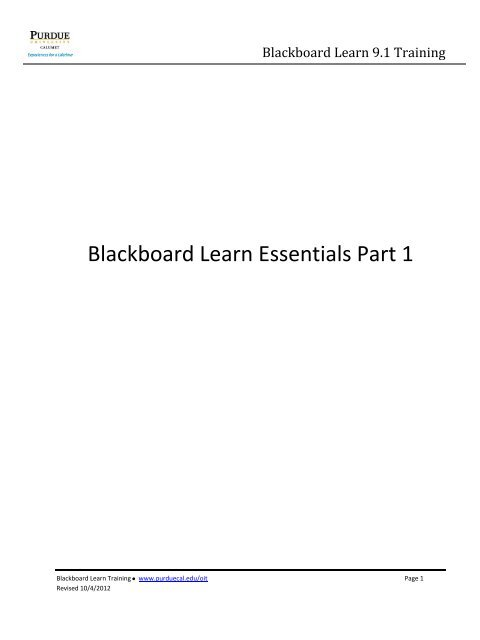 Blackboard Learn Essentials Part 1 - Purdue University Calumet