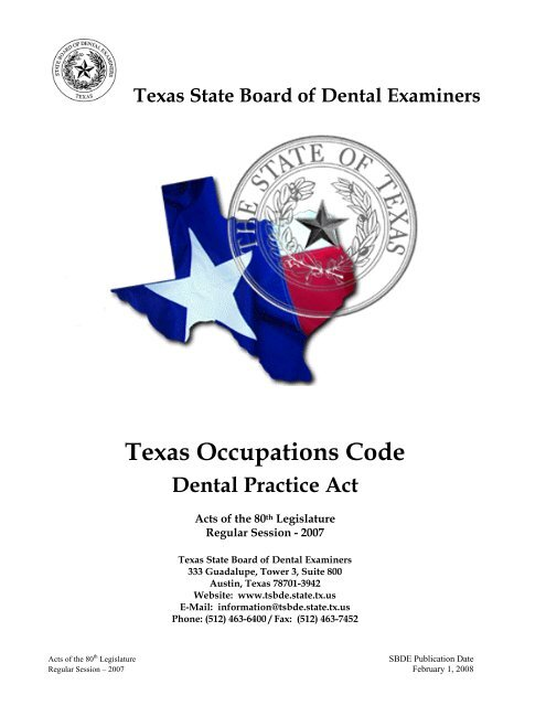 Title 3 - Texas State Board of Dental Examiners