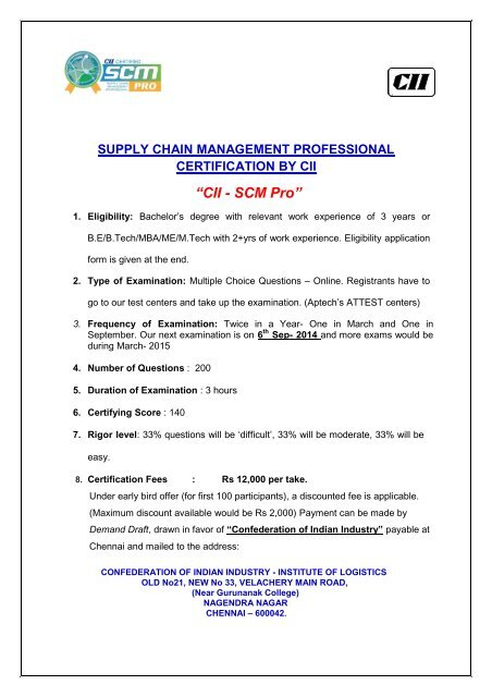 To Download Details And Eligibility Application Form Cii
