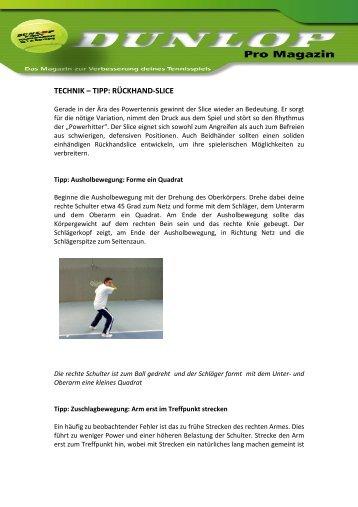 TECHNIK – TIPP: RÜCKHAND-SLICE