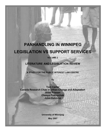 Volume 2: Literature and Legislation Review - University of Winnipeg