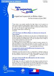 Note de conjoncture sociale n°1 - (DRJSCS) Rhône-Alpes