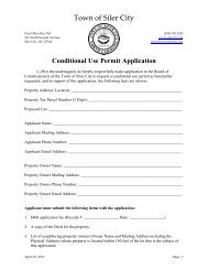 Conditional Use Permit Application - Town of Siler City