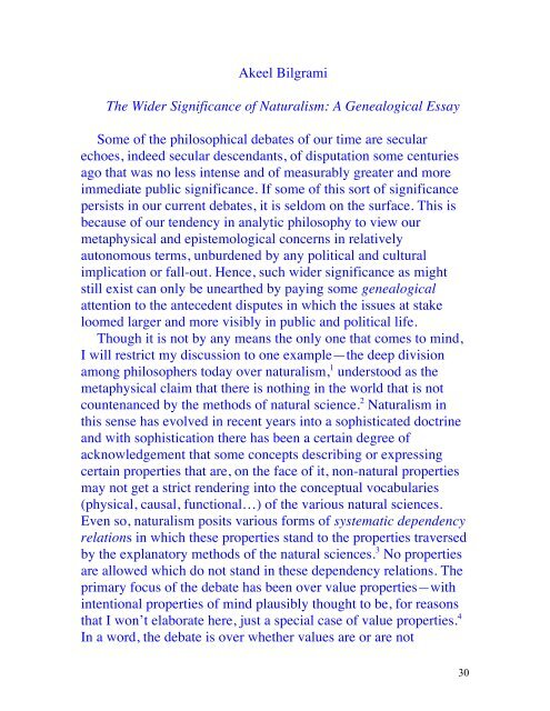 the wider significance of naturalism   columbia university