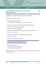 INAB Mandatory and Guidance Documents - Policy and Index