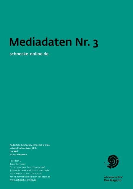 Mediadaten Nr. 3 - Schnecke Online