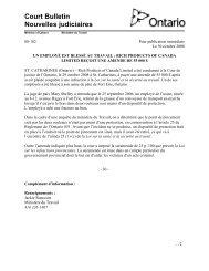 Court Bulletin Nouvelles judiciaires - Ministère du travail