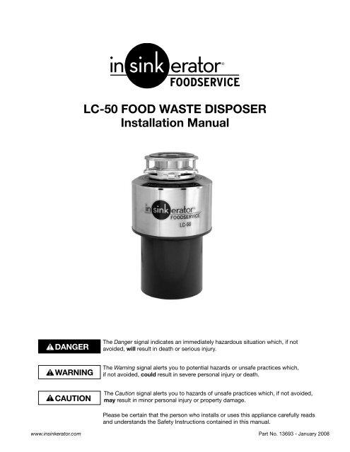 Model LC50 Food Waste Disposer Installation Manual - InSinkErator