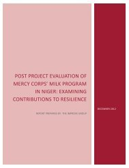 Niger MILK Post Project Evaluation, Final Report - Mercy Corps