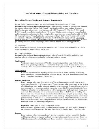 Lowe S Live Nursery Tagging Policy And Procedures Loweslink