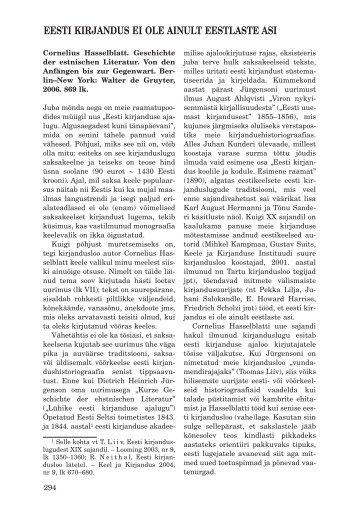 eesti kirjandus ei ole ainult eestlaste asi - Keel ja Kirjandus