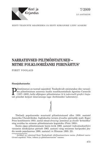 narratiivsed piltmõistatused – mitme folkloorižanri ... - Keel ja Kirjandus