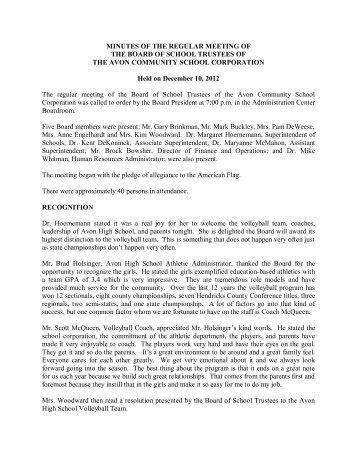 Board Minutes 12-10-12 - Avon Community School Corporation