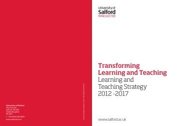 Learning and Teaching Strategy - University of Salford