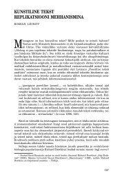 kunstiline tekst replikatsiooni mehhanismina - Keel ja Kirjandus