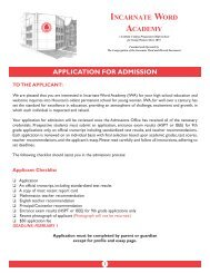 application for admission - Incarnate Word Academy