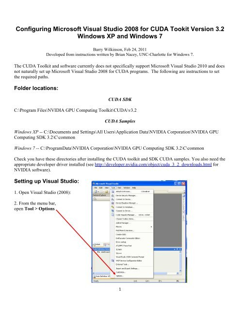 Configuring Microsoft Visual Studio 2008 for CUDA Tookit Version