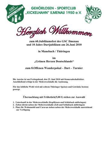 zum 60.Jubiläumsfest des GSC Ilmenau und 10 Jahre Dartjubiläum ...