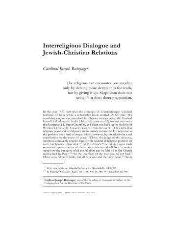 Interreligious Dialogue and Jewish-Christian Relations - Communio