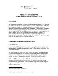 research ethics board standard operating procedures - St. Joseph's ...