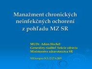 Manažment chronických neinfekčných ochorení z pohľadu MZ SR