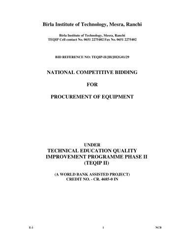 Package EEE02(TEQIP-II/JH/JH2G01/29) - Birla Institute of ...