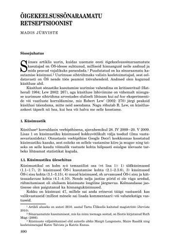 ÕigekeelsussÕnaraamatu retseptsioonist - Keel ja Kirjandus