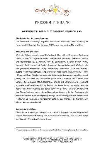Presse-Info Wertheim Village - Region Frankfurt Rhein Main