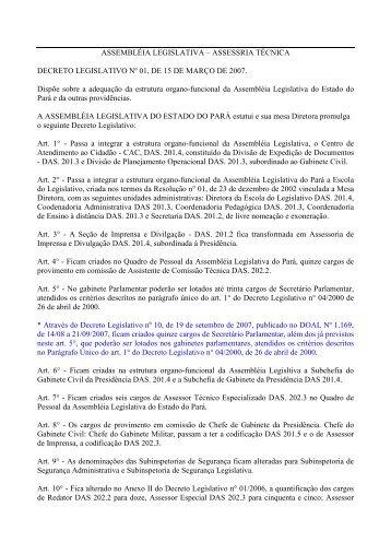 ASSEMBLÉIA LEGISLATIVA – ASSESSRIA TÉCNICA DECRETO ...
