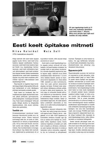Eesti keelt õpitakse mitmeti - Haridus