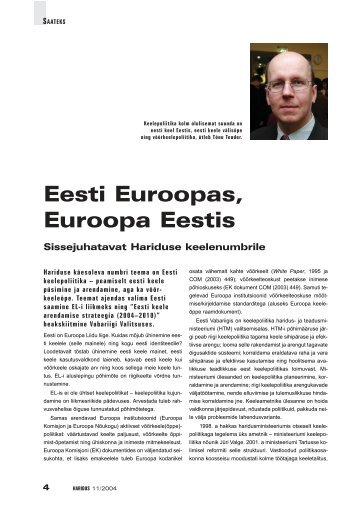 Eesti Euroopas, Euroopa Eestis - Haridus