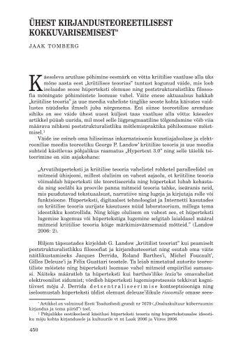 ühest kirjandusteoreetilisest kokkuvarisemisest - Keel ja Kirjandus