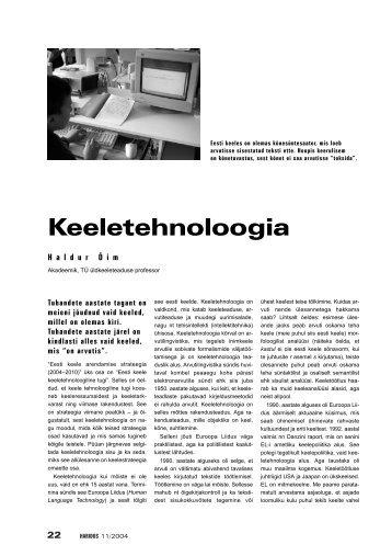 HALDUR HÕIM: Keeletehnoloogia - Haridus