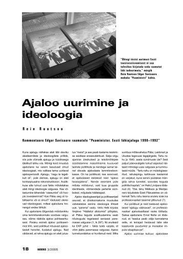 REIN RUUTSOO: Ajaloo uurimine ja ideoloogia - Haridus