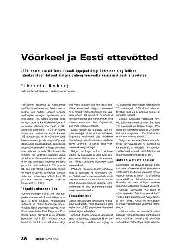 VIKTORIA UMBORG: Võõrkeel ja Eesti ettevõtted - Haridus