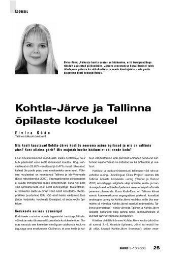 Kohtla-Järve ja Tallinna õpilaste kodukeel (Elvira Küün) - Haridus