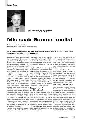 Mis saab Soome koolist (Kari Uusikylä) - Haridus